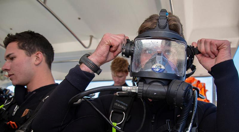 Able Seaman Samuel Day prepares to conduct a scuba dive during the inagural Australian Defence Force Scuba Diver Course held at HMAS Penguin, Sydney. Photo by Able Seaman Leo Baumgartner.