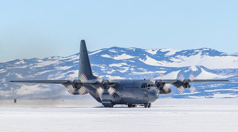 An RNZAF C-130 Hercules on an ice runway in Antarctica. NZDF file photo.