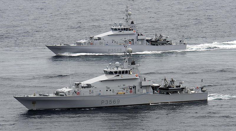 Royal New Zealand Navy inshore patrol vessels HMNZS Rotoiti (front) and HMNZS Pukaki. RNZN photo.
