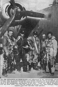 A newspaper clipping showing CCPL Scott's great-grandfather Flying Officer Ken Scott (second from left) following an altitude-test flight to 32,000 feet over Melbourne. Supplied by CCPL Scott.