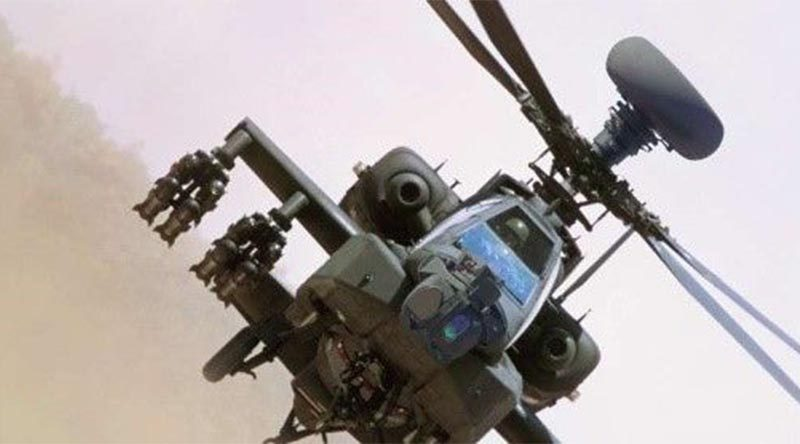 AH-64E Apache fitted with AN/APG-78 LONGBOW fire-control radar – doubled its range without any hardware changes. Photo supplied.