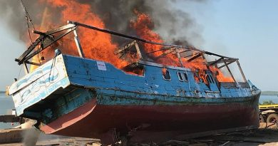 An Indonesian fishing boat, caught illegally fishing in Australian waters, is destroyed by fire in Darwin. Australian Border Force photo.