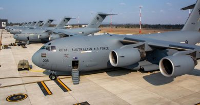 All eight C-17A Globemaster aircraft from No 36 Squadron on the flightline at RAAF Base Amberley, together for the first time ever. Photo by Sergeant Peter Borys.