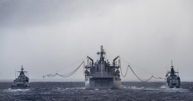 HMAS Sirius conducts a dual replenishment at sea with Malaysian ships KD Lekiu and KD Kelantan during her East Asia deployment. Photo by Leading Seaman Tara Byrne.