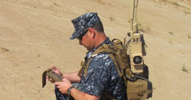 A man-portable Joint Counter Radio-Controlled Improvised Explosive Device Electronic Warfare – JCREW – package, developed by the US Navy to protect soldiers from advanced radio-controlled IEDs. The system provides a protective electronic bubble around warfighters. US Navy photo.