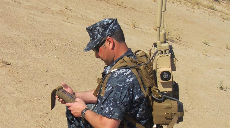 A man-portable Joint Counter Radio-Controlled Improvised Explosive Device Electronic Warfare – JCREW –package, developed by the US Navy to protect soldiers from advanced radio-controlled IEDs. The system provides a protective electronic bubble around warfighters. US Navy photo.