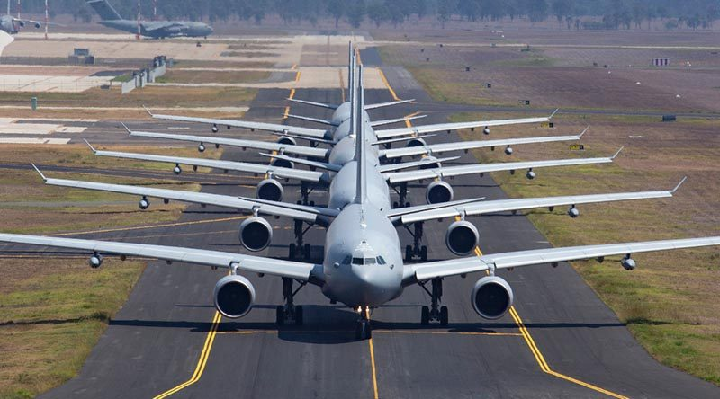 Five KC-30A Multi Role Tanker Transport aircraft from No 33 Squadron on taxiway Alpha at RAAF Base Amberley. Photo by Sergeant Peter Borys.