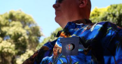 My new Veteran's Lapel Pin, box-mounted in the shirt pocket. Photo by self.