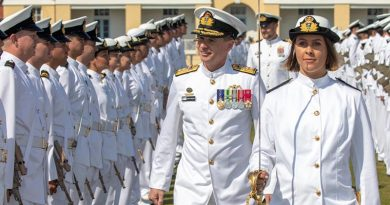 The reviewing officer of the New Entry Officers Course 61 graduation parade, Deputy Chief of Navy, Rear Admiral Mark Hammond, inspects the guard at HMAS Creswell. Photo by Chief Petty Officer Cameron Martin.