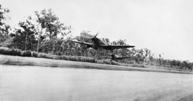 Two Spitfires take off from an airstrip near Darwin, 24 March 1943. AWM 014484.