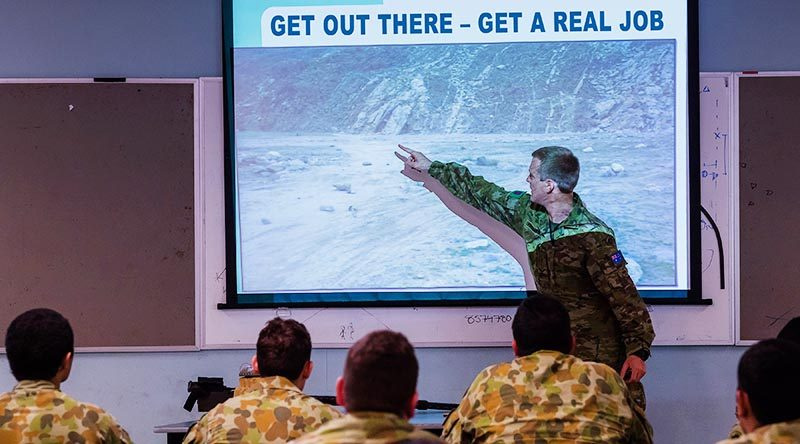 Lance Corporal Andrew Friedmann delivers a classroom lesson at 1st Combat Engineer Regiment, Robertson Barracks. Photo by Craftsman Priyantha Malavi Arachchi. (Photo digitally modified by CONTACT)