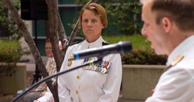 Chief of Navy Vice Admiral Michael Noonan presents Warrant Officer Deb Butterworth with her promotion certificate as the newly appointed Warrant Officer of the Royal Australian Navy, at Russell Offices. Photo by Able Seaman James McDougall.