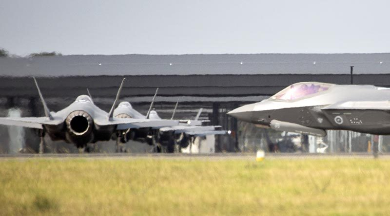 Australia's biggest delivery yet of F-35A Lightning IIs at RAAF Base Williamtown. Photo by Corporal Melina Young.