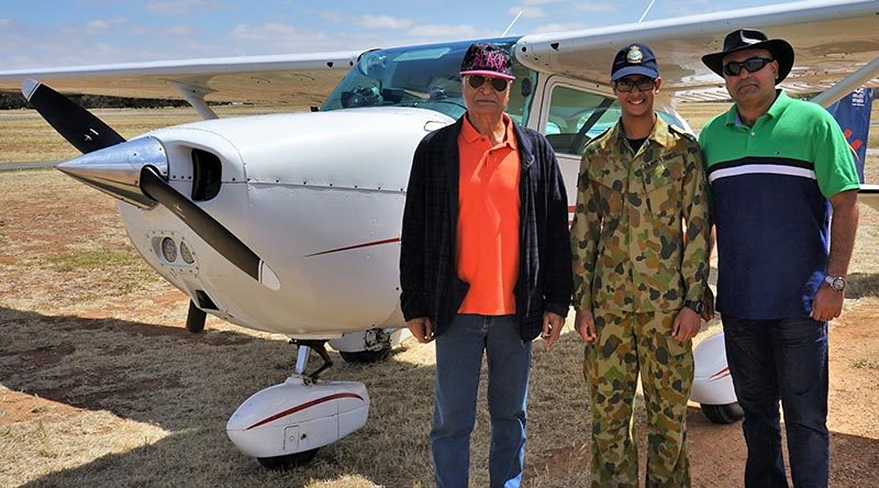 CDT Marcus Dhillon (604 Squadron) prepares for an air experience flight from Gawler Airfield in an 'N' model Cessna Skyhawk C172 'VH-CEY' operated by Adelaide Biplanes. He is joined by his father Major Barry Dhillon (Indian Army, ret'd) and grandfather Major-General Balli S Dhillon VSM (Indian Army, ret'd).