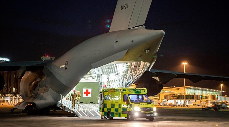 The Aussies arrive in Christchurch, New Zealand, well equipped to repatriate Australian's injured in the White Iland volcano eruption. RAAF photo.