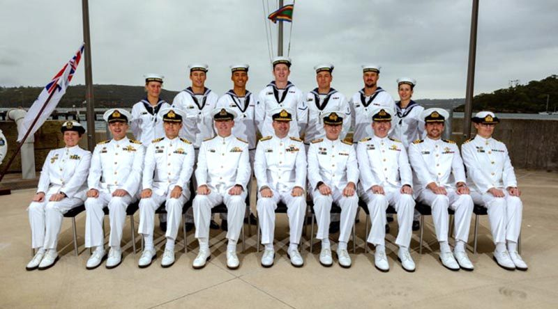 Graduates of Basic Clearance Divers Course 87 (standing) at HMAS Penguin, in Sydney, with Australian Fleet Commander Rear Admiral Jonathon Mead (centre, front) and other senior Royal Australian Navy officers, after their course graduation. Photo by Able Seaman Shane Cameron.