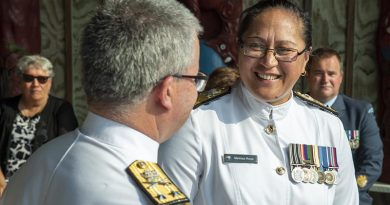 Commodore Melissa Ross with Chief of Navy Rear Admiral David Proctor after her promotion ceremony.