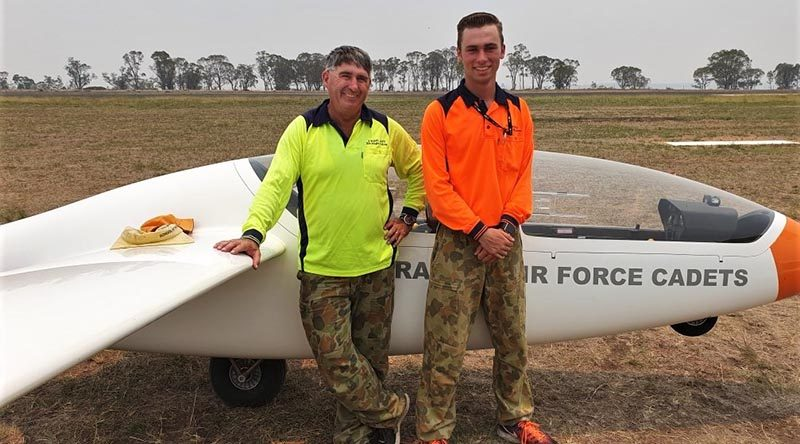 CUO Alex Fogale, 106 Squadron, with his instructor Flight-Sergeant (AAFC) Denis Lambert from No 902 Aviation Training Squadron, on the occasion of his first solo flight at Warwick airfield. Photo by Pilot Officer (AAFC) Brie Russell, 902ATS.