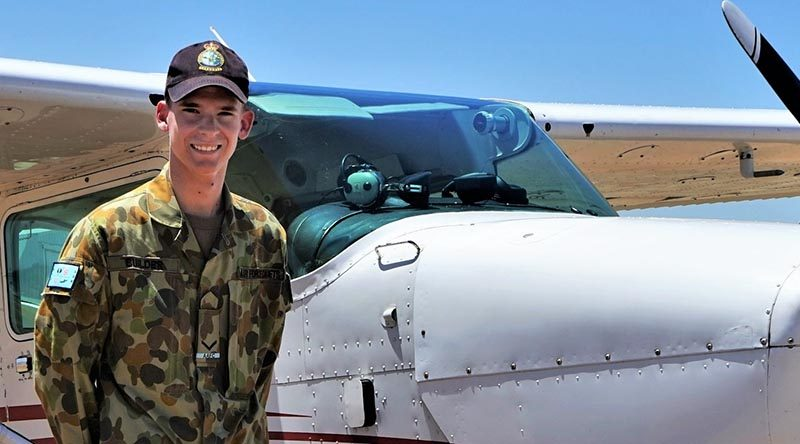 LCDT Joseph Builder, 613 Squadron, AAFC, prepares for an air-experience flight from Gawler Airfield in a Cessna Skyhawk operated by Adelaide Biplanes.