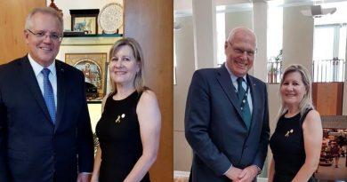 Julie-Ann Finney meets Prime Minister Scott Morrison and newly returned Senator Jim Molan at Parliament House, Canberra.