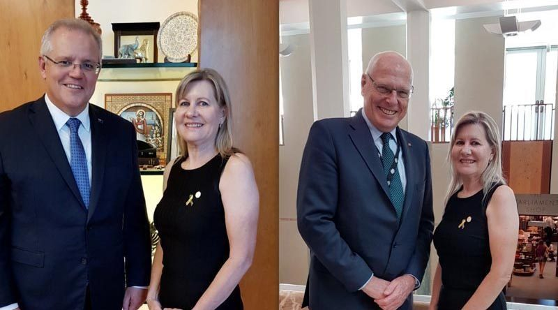 Julie-Ann Finney meets Prime Minister Scott Morrison and newly returned Senator Jim Molan at Parliament House, Canberra.