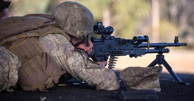 A New Zealand Army soldier fires a machine-gun practice during the Australian Army Skill at Arms Meeting 2019 at Puckapunyal, Victoria. Photo by Corporal Jessica de Rouw.