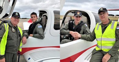 Cadet Corporal James Culpeper is congratulated by his instructor, WGCDR David Chaplin (left) and Cadet Corporal Patrick Swingler with his instructor, Squadron Leader (AAFC) Nicolaas. Photos supplied by EFTS.