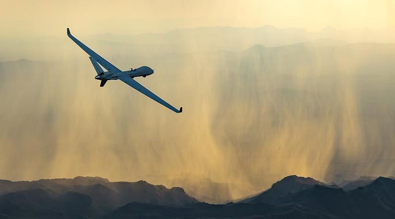 MQ-9B SkyGuardian seen flying into a pretty sunset with, to the relief of many RAAF officers, not a single weapon in sight. Photo credited to Business Wire, from the General Atomics web site.