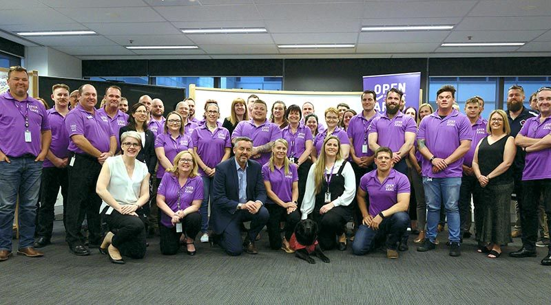 Minister for Veterans and Defence Personnel Darren Chester with members of the Open Arms Community and Peer Program during their induction training in Canberra. Photo supplied.