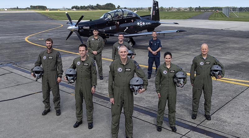 Royal New Zealand Air Force's Black Falcons aerobatic display team for 2020. NZDF photo.