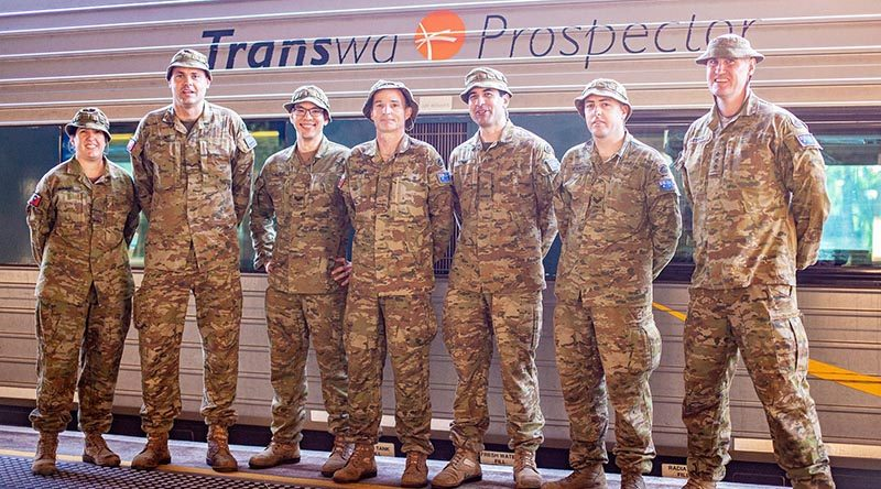 Signallers from 109th Signal Squadron ready to board the 'Prospector' for Kalgoorlie. 13th Brigade photo.