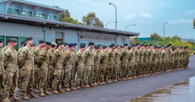 Soldier from the Australian Army's 1st Brigade – mainly 7RAR – parade in Adelaide in preparation for departure to assist on Opertion Bushfire Assist 19-20.