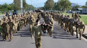 Soldiers of 2nd Cavalry Regiment in Townsville pull a 62-tonne Abrams tank for PT.