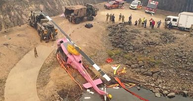 An bird's eye view of the crashed water bomber recovery. ADF video screenshot.
