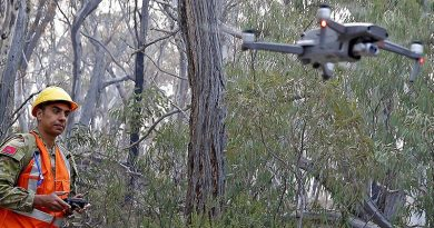 Australian Army Reserve soldier Lance Bombardier Daniel Stoian of 9 Regiment, Royal Australian Artillery, uses a drone to assist with locating koalas near Cooma, NSW. Photo by Sergeant Dave Morley.