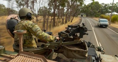 Corporal Michael Russ from the 1st Armoured Regiment moves in a convoy of ASLAVs tasked to support South Australia Water on Kangaroo Island. Photo by Corporal Tristan Kennedy.