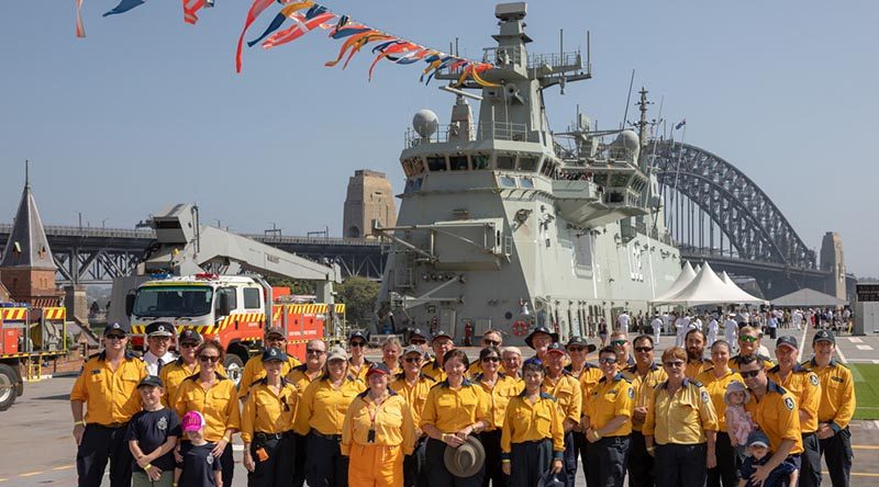 New South Wales Rural Fire Service guests onboard HMAS Canberra during the 2020 Australia Day celebrations on Sydney Harbour. Photo by Leading Seaman Christopher Szumlanski.