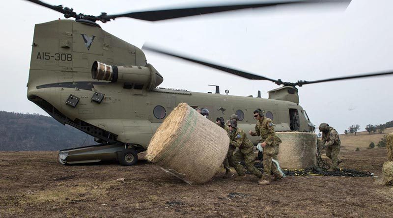Soldiers from the 7th Battalion, the Royal Australian Regiment, move a bale of hay for livestock delivered by an Australian Army CH-47F Chinook near Jackson's Crossing, Victoria: Photo by Private Michael Currie.