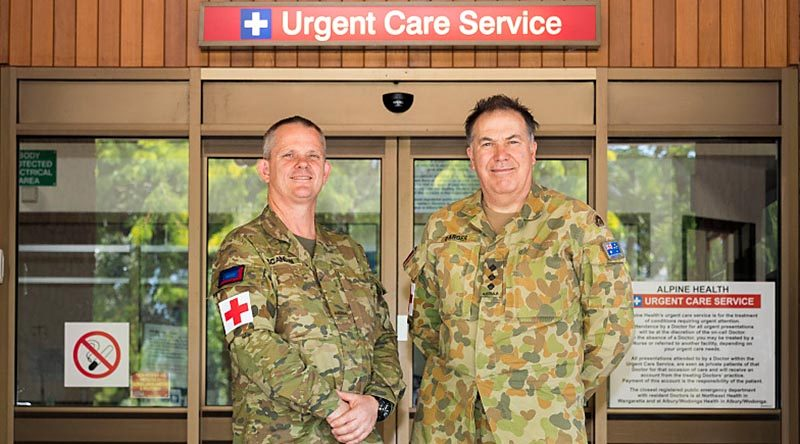 4th Combat Service Support Battalion Paramedic Private Rod Scanlon and Nursing Officer Captain Phil Barber at the Alpine Health Centre in Bright, where they took charge of community care in the absence of evacuated nurses. Photo by Corporal Sebastian Beurich.