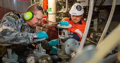 Leading Seaman Mark Curtis and Shadbolt contractor Scott Reid perform maintenance on the sewage-treatment plant of HMAS Adelaide during Operation Bushfire Assist 19-20. Photo by Petty Officer Tom Gibson.