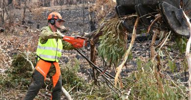 Lance Corporal Damien Ewin reduces bushfire-damaged trees to manageable pieces for disposal during road clearance operations near Ilford, NSW. Lance Corporal Ewin is an Australian Army Reserve engineer, from the 5th Engineer Regiment, –and also owner of Premier Defence Agencies and long-time advertising supporter of CONTACT. Photo by Major Cameron Jamieson