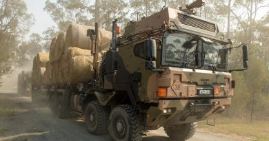 Australian Army HX77 heavy rigid trucks loaded with fodder heading for Bonang in the north of Gippsland on Australia Day in support of Operation Bushfire Assist. Photo by Private Michael Currie.