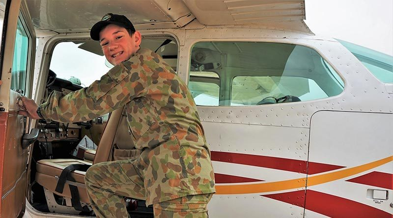 LCDT Tom Shaw (No 608 Squadron) prepares for a cadet air experience flight from Gawler Airfield in an 'N'-model Cessna Skyhawk C172 'VH-CEY' operated by Adelaide Biplanes.