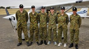 Northern squadron air experience participants at Gawler Airfield (left to right): LCDT James Chant, CDT Zac Baker, CDT Lorry Bonnett, LCDT Tom Shaw, LCDT Kira Scott-Halliday and CSGT Chevvy Dolan.