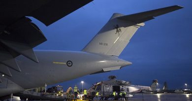 A Royal New Zealand Air Force NH-90 is unloaded off a Royal Australian Air Force C-17A Globemaster III aircraft at RAAF Base Richmond during Operation Bushfire Assist 19-20. Photo by Corporal Nicci Freeman.