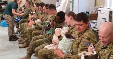 16 Regiment Emergency Support Force soldiers help feed koalas at Cleland Wildlife Park, Adelaide, South Australia.
