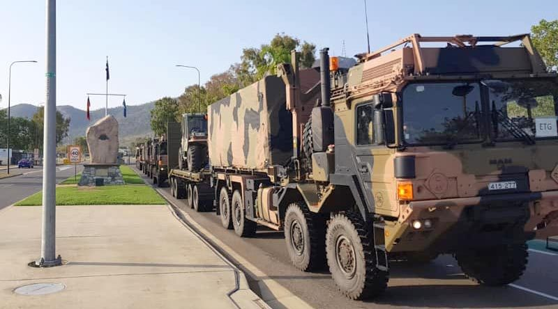 The 3rd Combat Engineer Regiment convoy departs Lavarack Barracks, Townsville, on the first leg of a long drive to Victoria. 3rd Brigade photo.