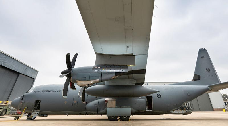 A Litening sensor pod hangs from the wing of a No. 37 Squadron C-130J Hercules aircraft at RAAF Base Richmond. Photo by Corporal David Said.