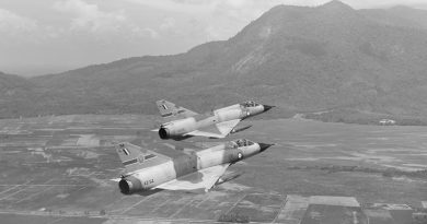 Two Australian Mirage fighters from 79 Squadron over land near Butterworth. RAAF photo.