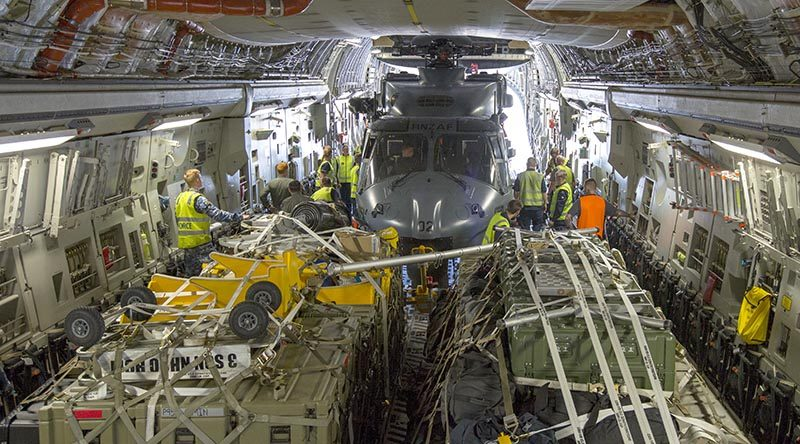 A Royal New Zealand Air Force NH-90 helicopter loaded on a RAAF C-17A Globemaster III en-route from RNZAF Base Ohakea to RAAF Base Richmond for Operation Bushfire Assist tasking. Photo by Corporal Nicci Freeman.